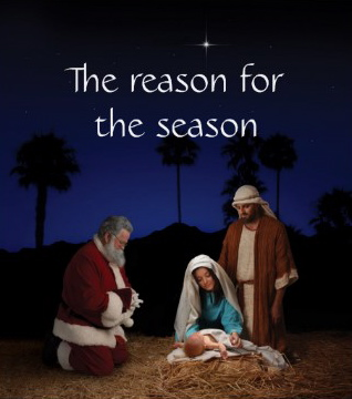 santa kneeling at manger